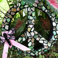 Groovy Mosaic Peace Sign Wreath with Dragonfly Accent - Indoor use