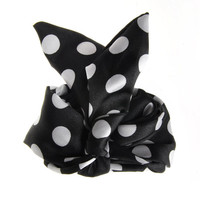 Black White Polka Dot Vintage Headband Rabbit Ear Wire Shinny Satin Tie Twist Hairband Hair Band Bow Accessory (HBS-113)