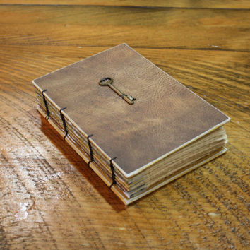 Faux Brown Leather Journal, Wedding sign in book, Skeleton Key Journal, Hostess Gift, Unique Birthday Gift, Writing Gift
