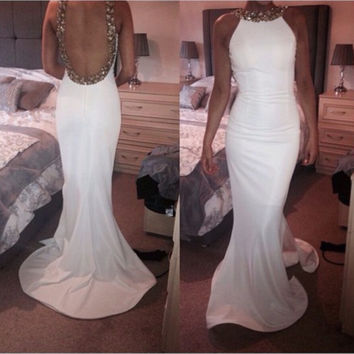 White Beading Mermaid Long Prom Dresses Halter Sleeveless Off The Shoulder Backless Prom Party Dress Robe de soiree