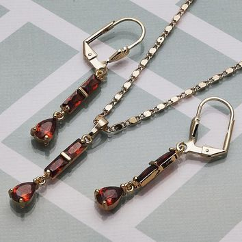 Gold Layered Women Teardrop Necklace and Earring, with Garnet Cubic Zirconia, by Folks Jewelry