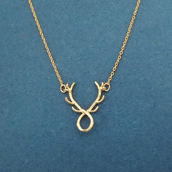 Deer, Antler, Gold, Silver, Necklace, Animal, Necklace, Birthday, Best friends, Mom, Sister, Gift, Jewelry