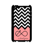Anchored Forever Chevron Coral iPod Touch 4 Case - For iPod Touch 4 4G - Designer Plastic Snap on Case