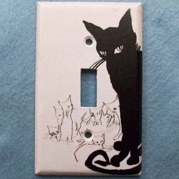 Retro Black Cat Light Switch Cover Switchplate Plate