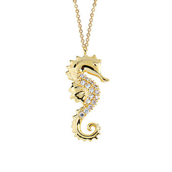 Seahorse 14k Solid Gold Necklace Best Price