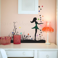 Girl with butterflies wall decal, decal, wall sticker, wall graphic , room decal, vinyl decal in black and rainbow colors, vinyl decal