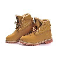 timberland fashion classic with fur upper leather wheat yellow