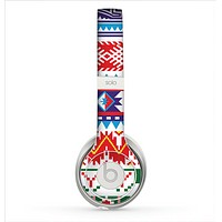 The Vector White-Blue-Red Aztec Pattern Skin for the Beats by Dre Solo 2 Headphones