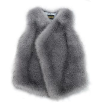 Stylish Irregular Hem Long Hairy Shaggy Faux Fur Vest 2017 Winter Women V Neck Faux Fur Sleeveless Coat Mid Long Outerwear