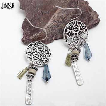 Hollow Carved Round Crystal Glass Water Drop Thread Tassel Drop Earrings