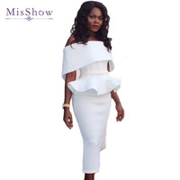 MisShow 2017 Vestidos Summer Elegant Women Pencil Dress Short Sleeve Off the shoulder Party Bodycon Dresses Bandage work