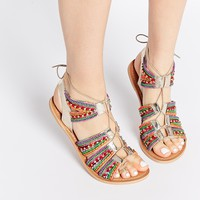 ASOS FOSS Leather Lace Up Beaded Sandals