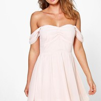 Nori Chiffon Off The Shoulder Skater Dress