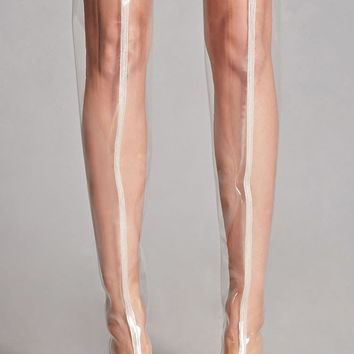 Clear Thigh-High Lucite Boots