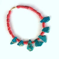 Coral Necklace, Turquoise Necklace, Beaded Necklace, Gemstone Necklace, Coral and Slab Turquoise Jewelry, Red Necklace, Blue Necklace, Gift