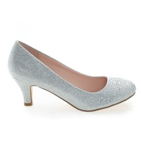 Wonda1 Silver Metallic By Bonnibel, Round Toe Low Heel Classic Pump In Metallic Glitter