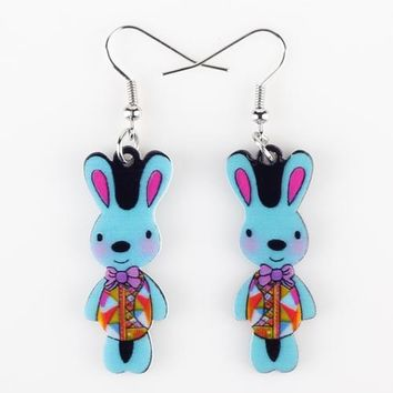Drop Blue Rabbit Earrings Acrylic Pattern Long Danlge Earrings  Animal New Fashion Jewelry For Women  Accessories