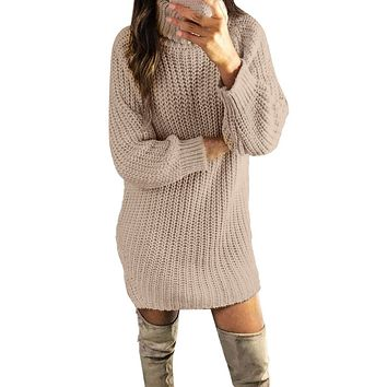 Knitted Dress Women Casual Turtleneck Long Sleeve Dress Winter Autumn Sexy Solid Sweater Pullovers Sexy Mini Dresses Vestidos