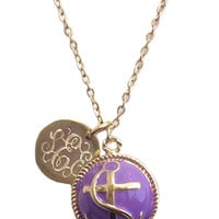 Monogrammed Custom Long Anchor Nautical Necklace