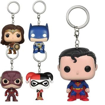 Batman Dark Knight gift Christmas DC Comic Characters Theme Keychain Toys Action Figure Collectible Model Vinyl Dolls Superman Batman Halle Wonder Woman Flash AT_71_6