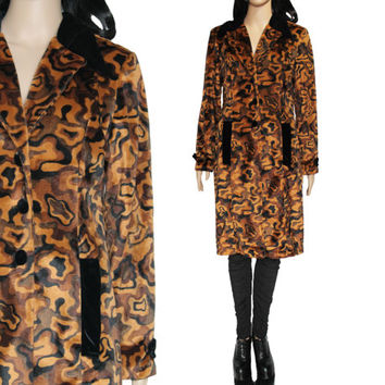 90s Faux Fur Coat Long Soft Brown Swirl Camo-Like Vintage Outerwear Boho Hipster Club Kid Clothing Womens Size Medium