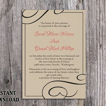 DIY Burlap Wedding Invitation Template Editable Word File Download Printable Rustic Wedding Invitation Black Invitation Elegant Invitation