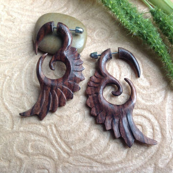 Fake Gauge Wings Sono Wood Organic Hand Carved by DewiDesign