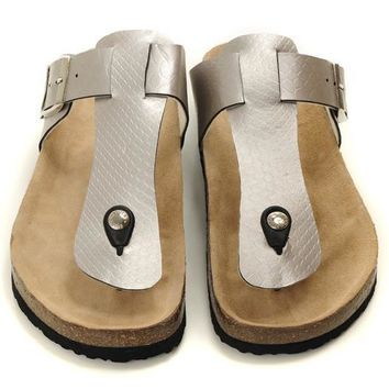 Birkenstock Leather Cork Flats Shoes Women Men Casual Sandals Shoes Soft Footbed Slippers-11