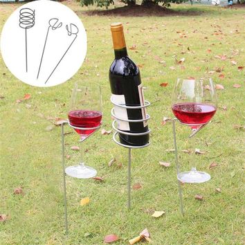 3 pc set Wine Glass & Bottle Holder Lawn Stakes - Support Metal lawn Picnic Camping Wine goblet Glass Holder Frame Garden BBQ Supply