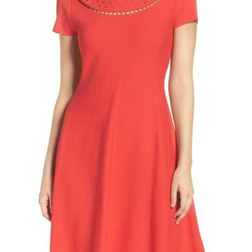 Eliza J Cutout Fit & Flare Dress (Regular & Petite) | Nordstrom
