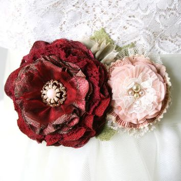 Red and Pink Floral Bridal Sash