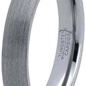 Edrie Grey Tungsten Wedding Band For Women Domed Brushed finish - 4mm