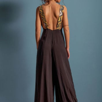 Black jumpsuit, aztec jumpsuit, open back jumpsuit, wide pants jumpsuit