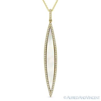 0.99ct Mother-of-Pearl & Round Diamond 14k Yellow Gold Pendant & Chain Necklace
