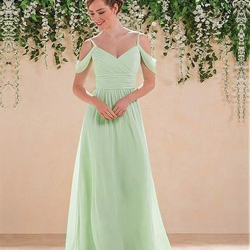 [60.00] Fabulous Chiffon Spaghetti Straps A-Line Bridesmaid Dresses With Pleats - dressilyme.com