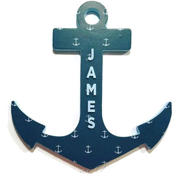 Anchor Nursery Name Sign, Nautical Theme, Any Name! (James example in listing is ready to ship!) Navy Blue,