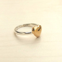 LAST ONE.Silver Gold Heart ring, Heart ring, Heart Ring,Knuckle ring,Stack Ring
