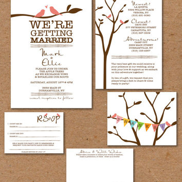 "Love Birds Wedding Invitation Set:  Invitation 5x7"", Info Card 4x6"", RSVP 3.5x5"", Advice Card 4x6"", Postcard Thank You 4.25x5.5"""