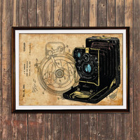 Camera decor Antique poster Steampunk print Patent print SOL102