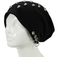 Unisex Goth Skull Studs Grommet Silver Ring Accent Beanie Hat