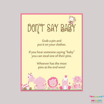 graphic about Don't Say Baby Printable called Lady Safari Dont Say Little one Red Shower Recreation - Printable Safari Dont Say Child Signal Diaper Pin Outfits Pin Activity - Instantaneous Obtain - BS0001-P