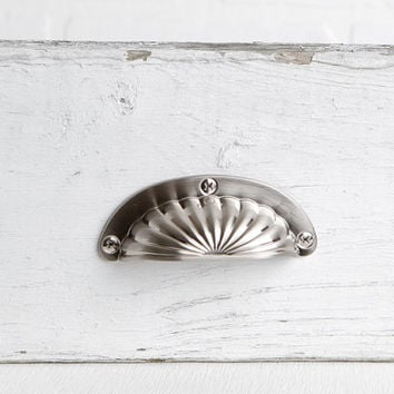 "Satin Nickel Scalloped Bin Pull, Silver Drawer Cup Pull with Decorative Screw Head Detail, 3 3/4"" Total Length with 2 1/2"" Centers"