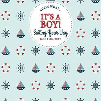 Custom It Is A Boy Sailor Sail Boat Backdrop (ANY TEXT)Baby Shower, Birthday - C0104