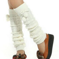 White Fluffy Ball Knot Knitted Leg Warmers