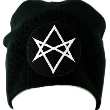 White Unicursal Hexagram Symbol Knit Cap Beanie Occult