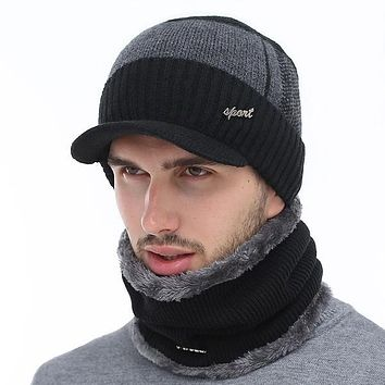 AETRUE Men's Sports Fashion Winter Knitted Wool Hat & Infinity Scarf