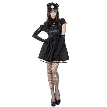 CREY6F Movie Edward Scissorhands Costumes for Adult Women Halloween Masquerade Party Cosplay Female Fantasy Fairy Tale Mini Bown Dress