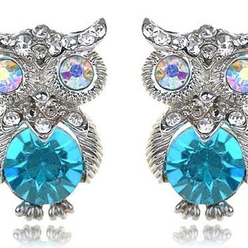 Alilang Womens Silvery Tone Turquoise Blue Colored Rhinestones Owl Bird Stud Earrings