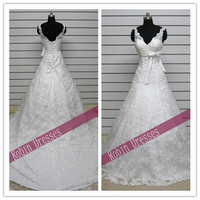 New Attractive Custom-made Sleeveless V-neck Long Floor Length White Lace Wedding Dresses Bridal Dresses with Free Shipping