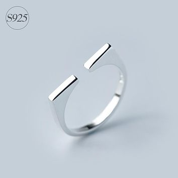 Modern Geometric 925-sterling-silver Square Adjustable Ring | Nordic Style Minimalism Sterling-silver-jewelry Gifts for Women